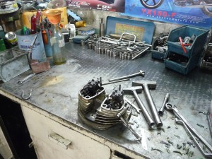engine head in uncle ali's workshop